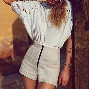 Free People One Linen High Rise Shorts